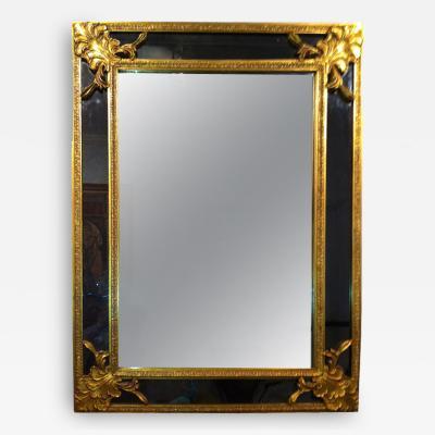 Gilt Charcoal Black Glass Mirror