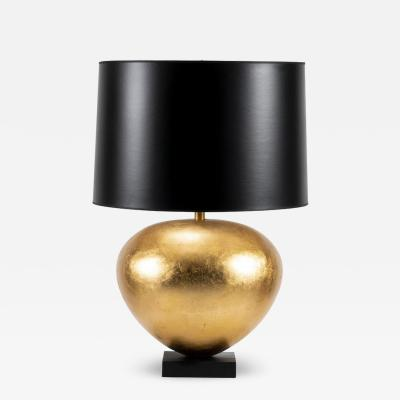 Gilt Gourd Lamp with Black Paper Shade