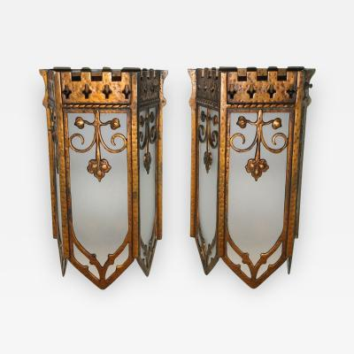 Gilt Metal Lantern Sconces