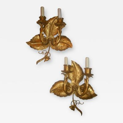 Gilt Metal Leaf Shaped Sconces