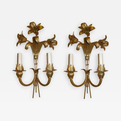 Gilt Metal Lily Sconces