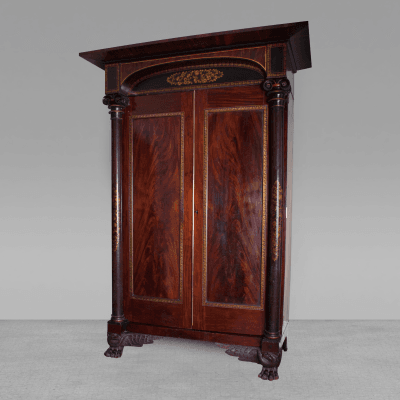 Gilt Stenciled Carved Mahogany Armoire