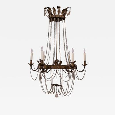Gilt Tole and Glass Empire Chandelier