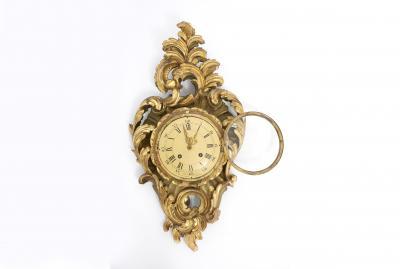 Gilt Wood Framed Swedish Wall Cartel Clock