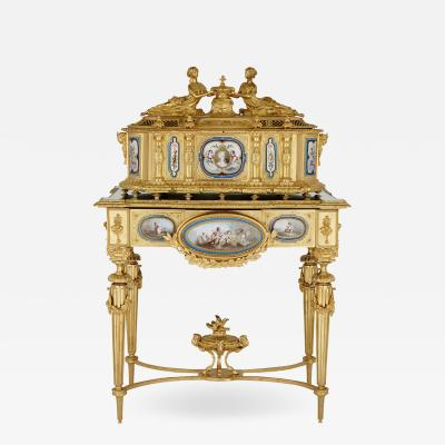 Gilt bronze and S vres style porcelain Louis XVI style casket on stand