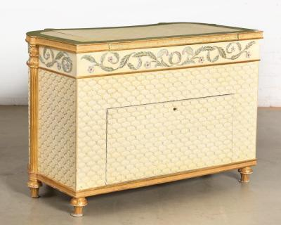 Giltwood Blue White Paint Decorated Commode Television Cabinet