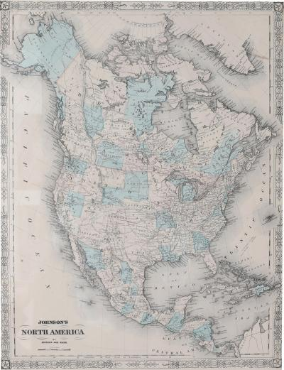 Giltwood Framed Matted Map North America