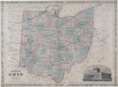 Giltwood Framed Matted Map Ohio