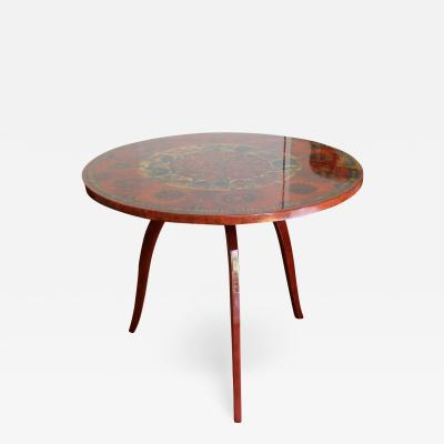 Ginette Raoult Ginette Raoult Pedestal table in red lacquer decorated with gold leaf