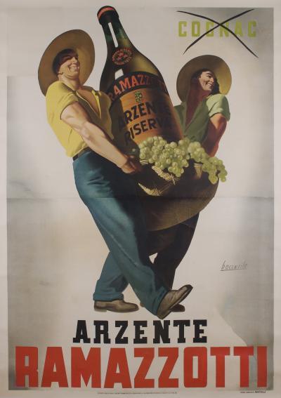 Gino Boccasile ON SALE Large Italian Liquor Poster by Gino Boccasile circa 1940