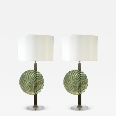 Gino Cenedese Pair of brass lamps with Murano Glass discs