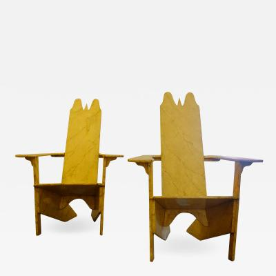 Gino Levi Montalcini Pair of Gino Levi Montalcini Italian Modernist Wooden Lounge Chairs from 1927