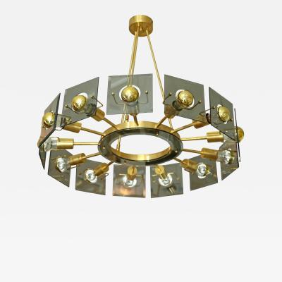 Gino Paroldo Mid Century Italian Brass Glass Chandelier by Gino Paroldo Fontana Arte