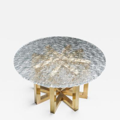 Gino Poli Brass and Cast Glass Round Dining Table by Ettore Gino Poli for Poliarte 1970s
