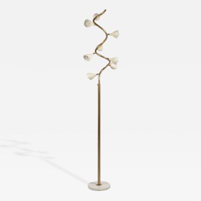 Gino Sarfatti Gino Sarfatti Style Spiral Floor Lamp with White Marble Base