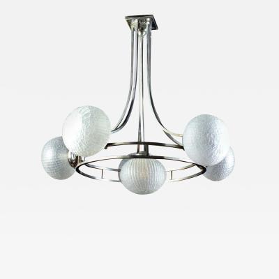 Gino Sarfatti Midcentury Gino Sarfatti Chrome Murano Glass Chandelier 1960
