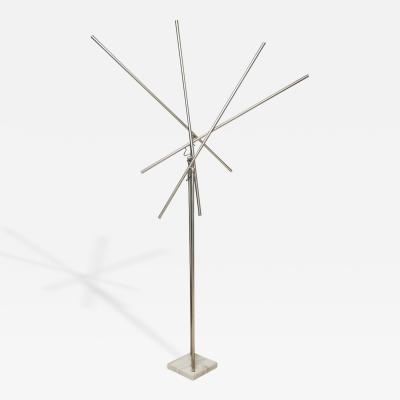 Gino Sarfatti Monumental Arredoluce Polished Chrome Marble Kinetic Floor Lamp Gino Sarfatti
