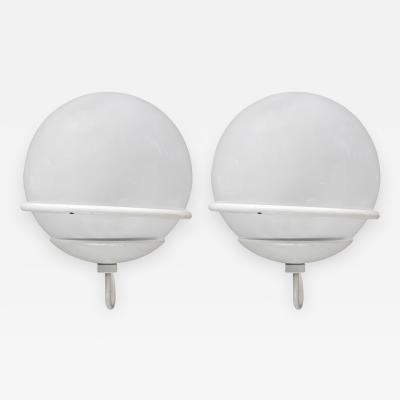 Gino Sarfatti Pair of Gino Sarfatti 371 1 Wall Sconces in Metal and Glass for Arteluce