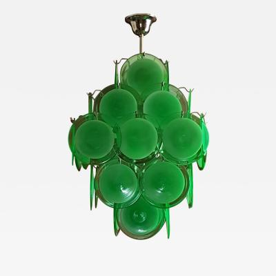 Gino Vistosi Mid Century Modern Green Disc Murano Chandelier by Vistosi