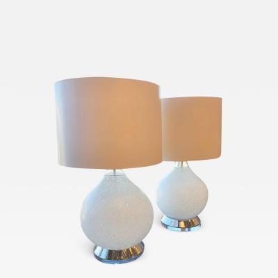 Gino Vistosi Pr of Mid Century Modern Italian White Murano Glass Chrome Lucite Table Lamps