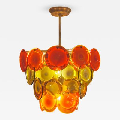Gino Vistosi Vistosi Four Tiered Amber and Orange Disc Chandelier