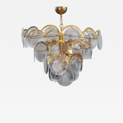 Gino Vistosi Vistosi Gray Murano Glass Disc Chandelier Italy 1970s