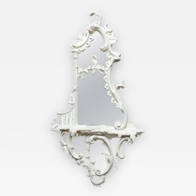 Ginsberg Levy Inc A White Painted George III Style Chippendale Girandole Mirror