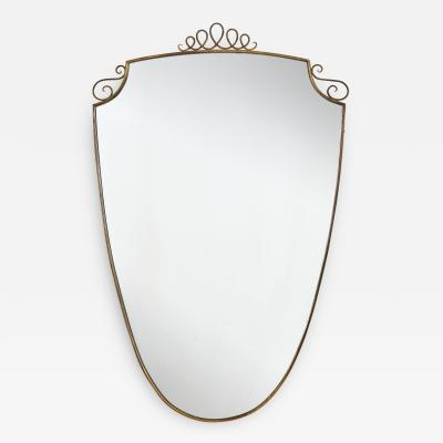Gio Ponti 1940s Brass Shield Shaped Mirror