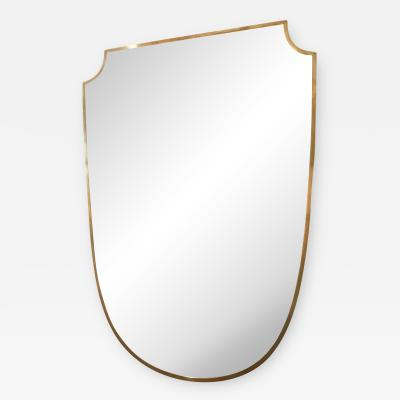 Gio Ponti 1950s Brass Shield Shaped Mirror in the Manner of Gio Ponti