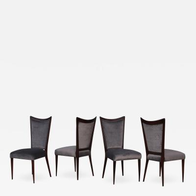 Gio Ponti 1960s Modernist Italian Walnut Dining Chairs