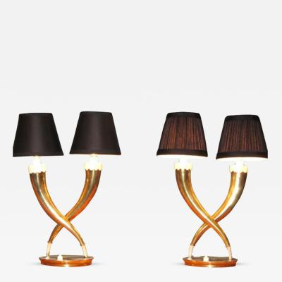 Gio Ponti A Rare Pair of Brass Table Lamps by Gio Ponti
