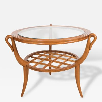 Gio Ponti A Two Tiered Italian Gio Ponti style Wood and Glass Occasional Table