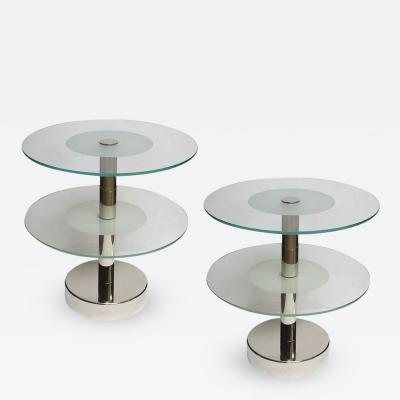Gio Ponti Art Deco Glass and Steel Side Tables in the Manner of Gio Ponti