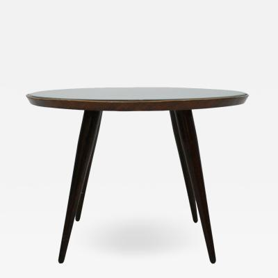 Gio Ponti Attributed to Gio Ponti Solid Wood and Glass Italian Side Table