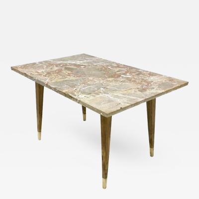 Gio Ponti Beech Coffee Table with Marble Top in the Style of Gio Ponti Italy 1950s