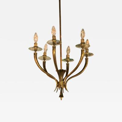Gio Ponti Brass Gio Ponti style Chandelier Mid Century Modern