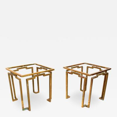 Gio Ponti Brass and Glass Sculptural Geometric Side Tables by Arturo Pani Mexico 1950s