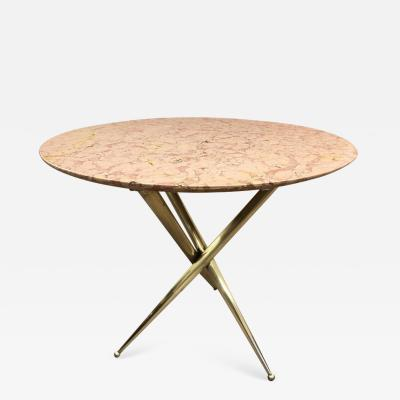 Gio Ponti Bronze and Marble Top Side Table in the Style of Gio Ponti