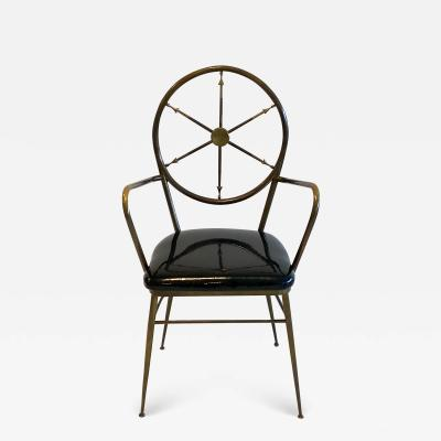 Gio Ponti Compass Back Armchair in Brass Attributed to Gio Ponti 1950s