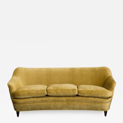 Gio Ponti Curved Antiqued Velvet Sofa