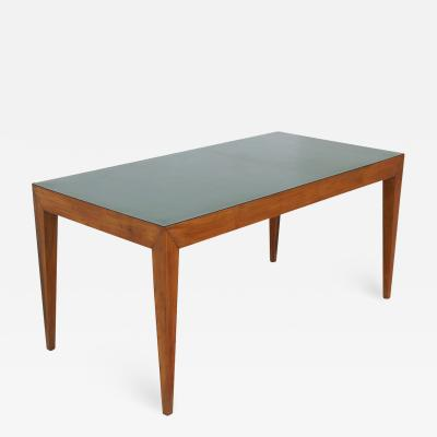 Gio Ponti Dining table attributed to Gio Ponti in walnut and green formica 1950s