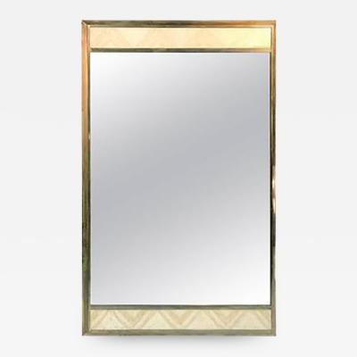 Gio Ponti Exceptional Gio Ponti Style Italian Modern Travertine Brass Rectangular Mirror
