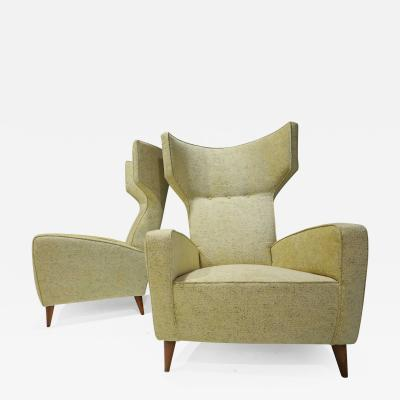 Gio Ponti Fabulous Pair of Italian High Back Wing Chairs