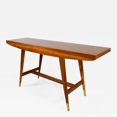 Gio Ponti Flip Top Console Table in Walnut Brass Model 2134