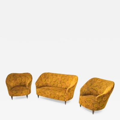 Gio Ponti Floral Orange Living room set in the style of Gio Ponti Italy 1950s