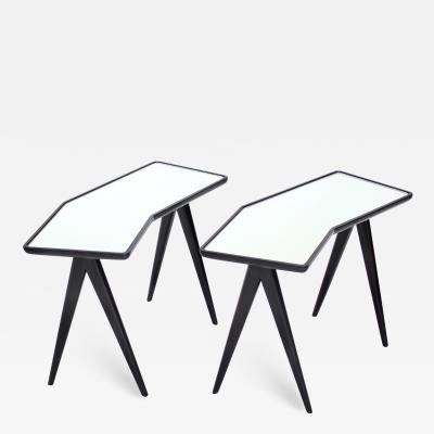 Gio Ponti GIO PONTI BLACK LACQUERED SIDE TABLES MIRRORED GLASS TOPS ASYMMETRICAL FORMS