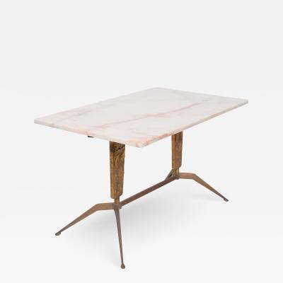 Gio Ponti GIO PONTI Italian Marble Coffee Table Carved Bronze Splay Leg 1950s ITALY