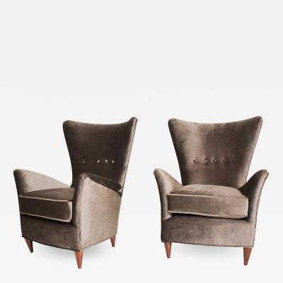 Gio Ponti GIO PONTI Luxury Lounge Arm Chair Pair from Hotel Bristol Merano ITALY 1950s