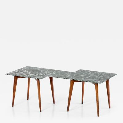 Gio Ponti Geometric Italian 1940s Coffee Table with Green Marble Top