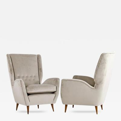 Gio Ponti Gio Ponti 1940s Vintage Italian Pair of High Back Armchairs in Light Gray Velvet